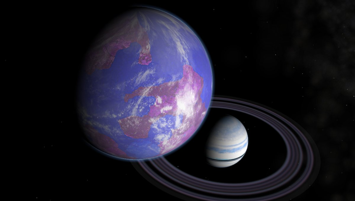 Artist's impression of a hypothetical Earth-like moon around a Saturn-like exoplanet. Image Crecit:  Frizaven via Wikimedia Commons
