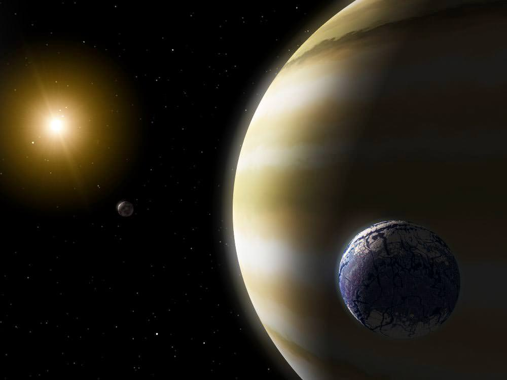 An artist's conception of a habitable exomoon orbiting a gas giant. - Image Credit: NASA