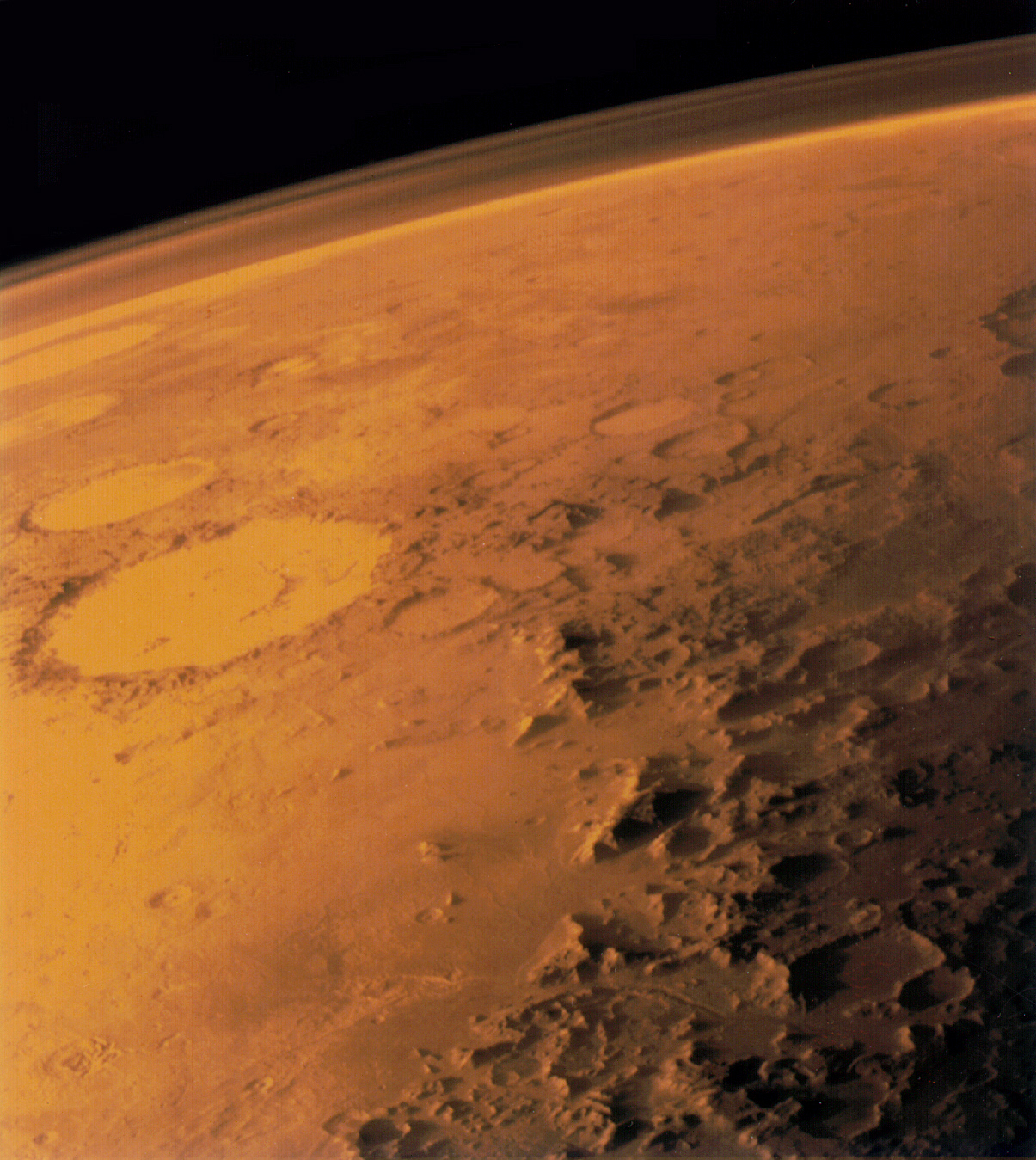 Viking 1 orbiter image shows the thin atmosphere of Mars. - Image Credit  NASA via Wikimedia Commons