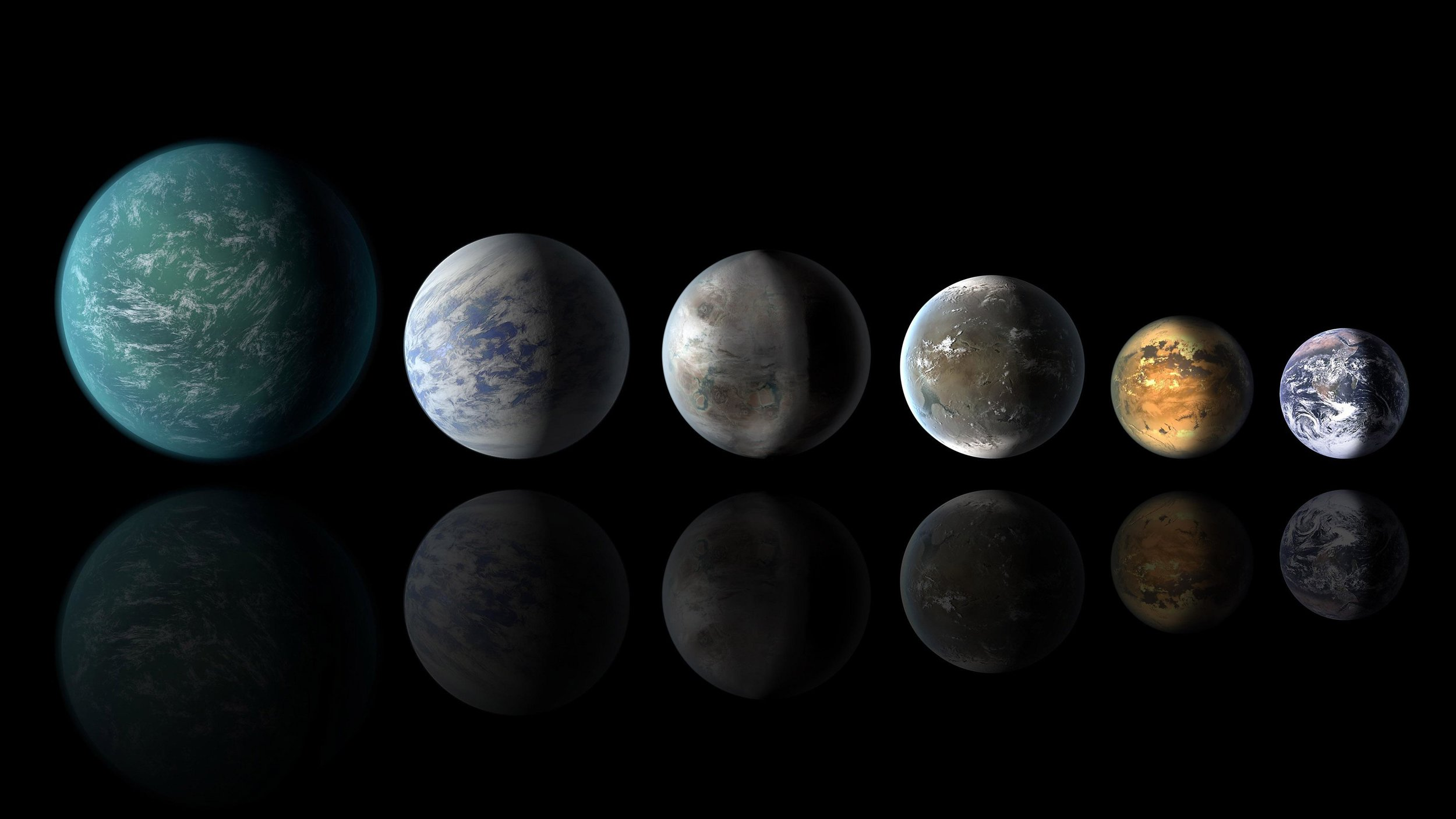 Exoplanets: Left to right: Kepler-22b, Kepler-69c, Kepler-62e, Kepler-62f and Earth (except for Earth, these are artists' concepts). - Image credit: NASA Ames/JPL-Caltech