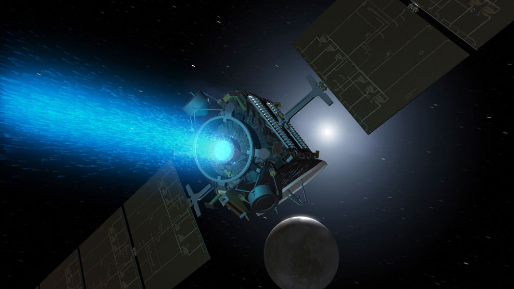 Artist's concept of Dawn mission using its blue ion engine to reach Ceres in the distance. - Image Credit: NASA/JPL