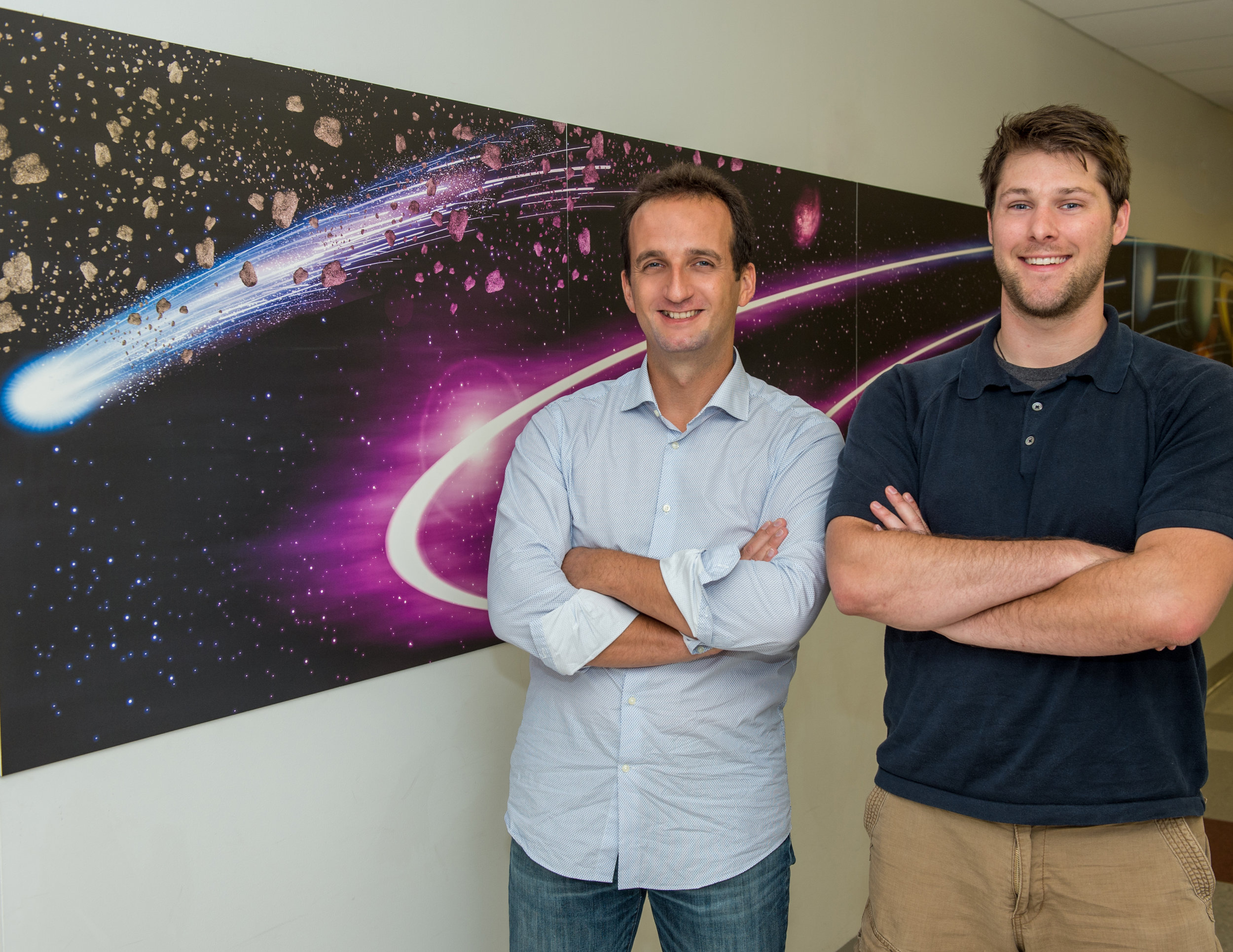 Catholic University's Nicolas Gorius and Goddard technologist Joshua Lyzhoft are evaluating the use of a thermometer-type device to help characterize comets and potentially hazardous asteroids. - Image Credits: NASA/W. Hrybyk
