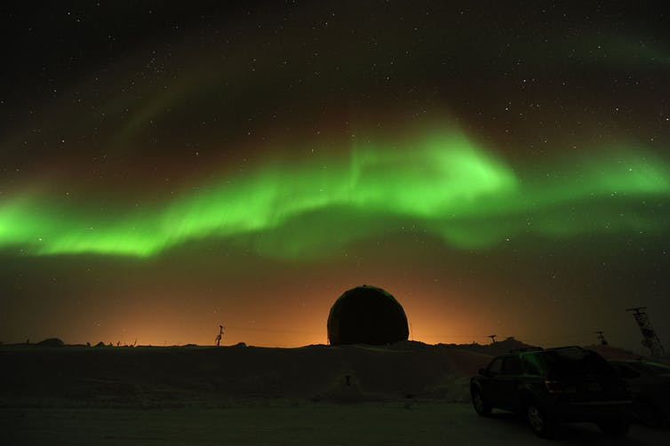 Aurora during a geomagnetic storm. - Image Credit: NASA