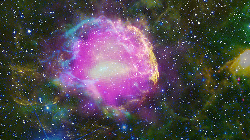 This multiwavelength composite shows the supernova remnant IC 443, also known as the Jellyfish Nebula - Image Credit:  NASA/DOE/Fermi LAT Collaboration, NOA/AURA/NSF, JPL-Caltech/UCLA via Wikimedia Commons