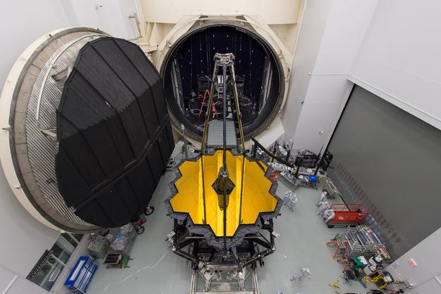 The JWST's Optical Telescope element/Integrated Science instrument module (OTIS) undergoing testing at NASA's Johnson Space Center. - Image Credit: NASA/Desiree Stover