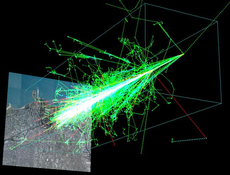 A simulation of a cosmic ray shower formed when a proton hits the atmosphere about 20km above the ground. - Image Credit:  Wikimedia Commons