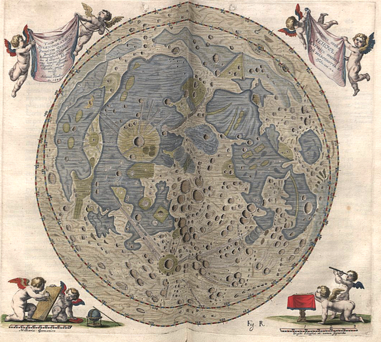 Map of the Moon engraved by the astronomer Johannes Hevelius, 1645. - Image Credit: Wikimedia Commons