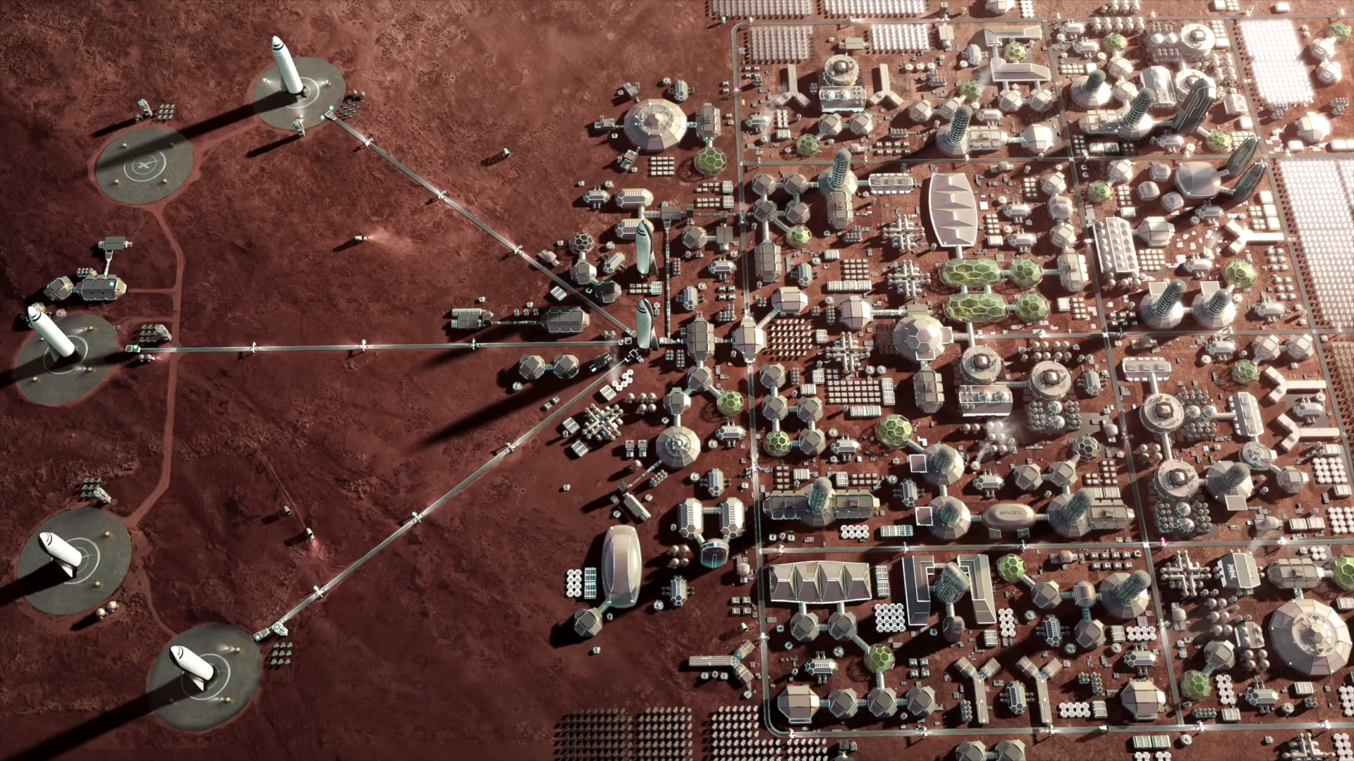 An artistic rendering of Elon Musk's Mars colonization plan. - Image Credit: SpaceX via Wikimedia Commons .