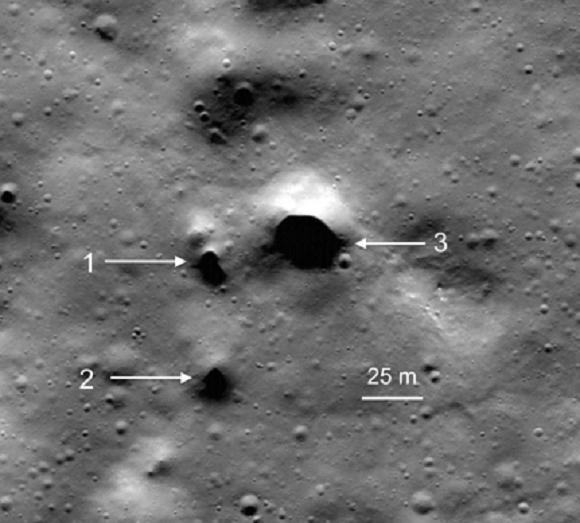NASA Lunar Reconnaissance Orbiter image showing some of the newly discovered lava tube skylight candidates at Philolaus Crater near the North Pole of the Moon. - Image Credit: NASA/LRO/SETI Institute/Mars Institute/Pascal Lee