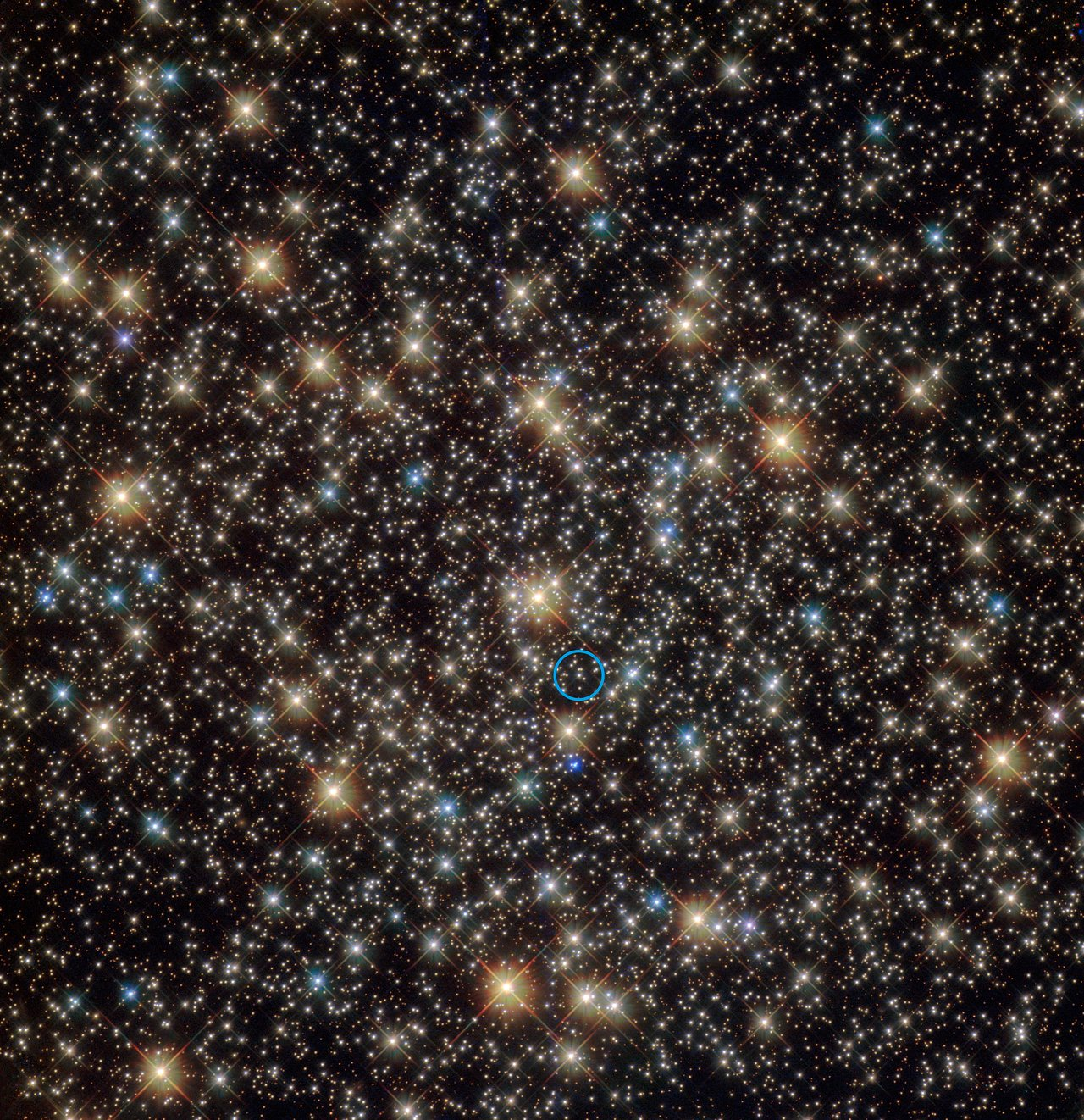 This image from the  NASA/ESA Hubble Space Telescope shows the central region of the rich globular star cluster NGC 3201 in the southern constellation of Vela (The Sails).  A star that has been found to be orbiting a black hole with four times the mass of the Sun is indicated with blue circle. - Image Credit: ESA/NASA