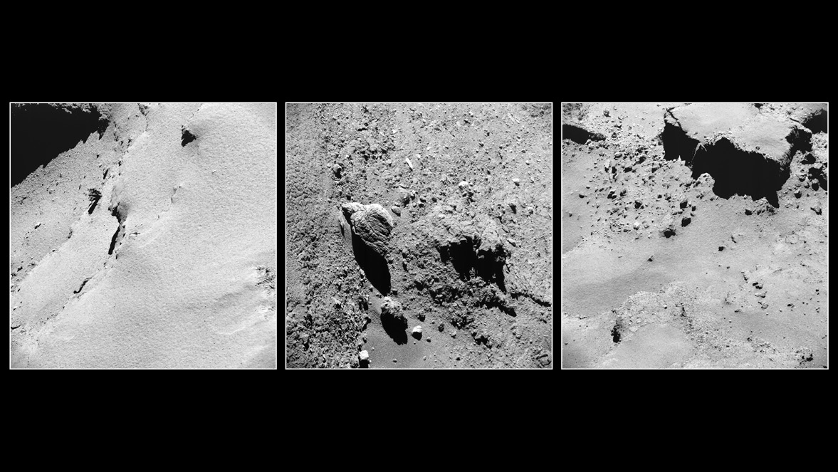 The comet 67P/Churyumov-Gerasimenko, seen up close. - Image Credit:  ESA/Rosetta/NavCam ,  CC BY-SA