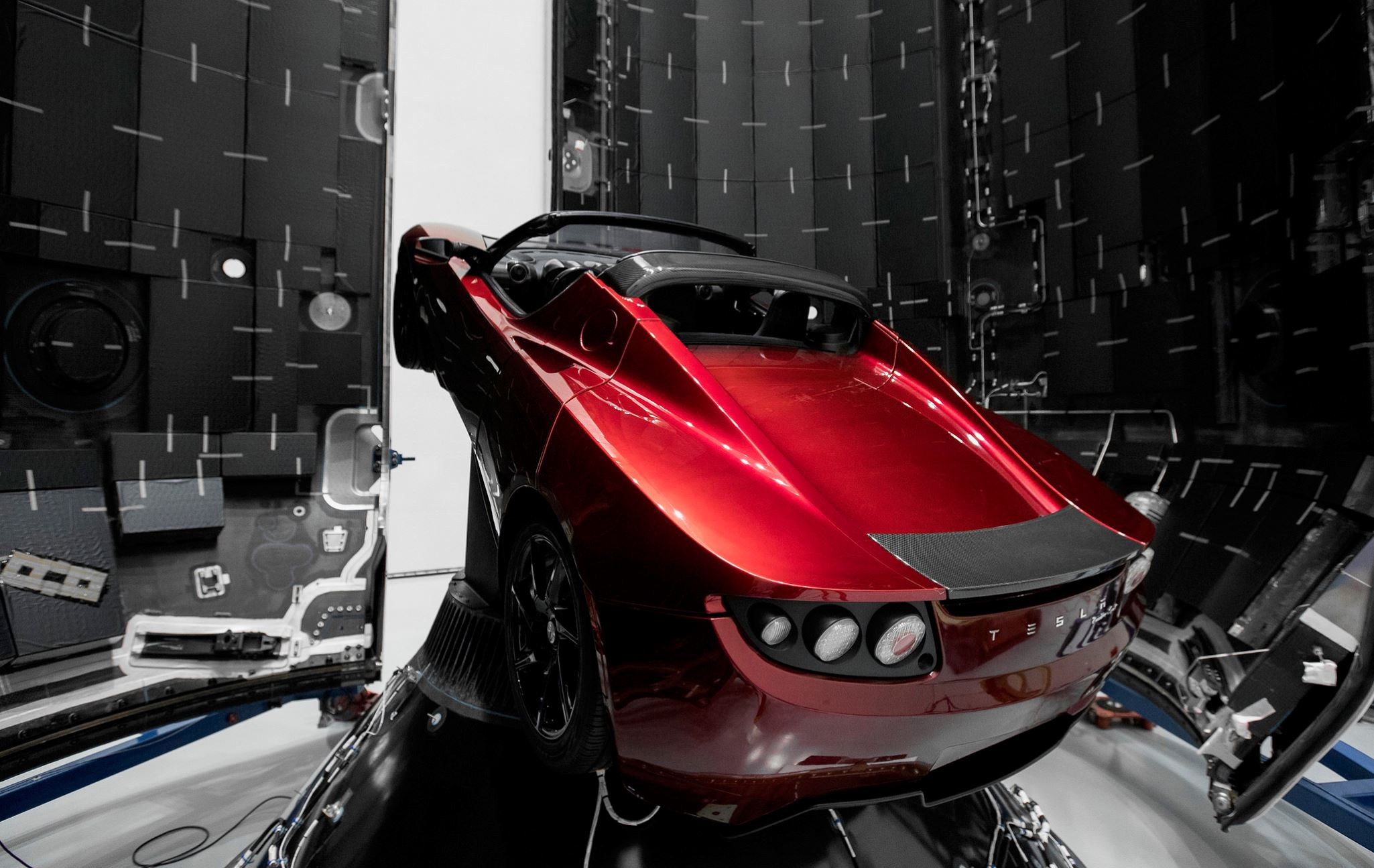 Falcon Heavy's first payload will be a Tesla Roadster, set to become the world's fastest car following its launch into a heliocentric orbit - Image Credit:  SpaceX via flickr