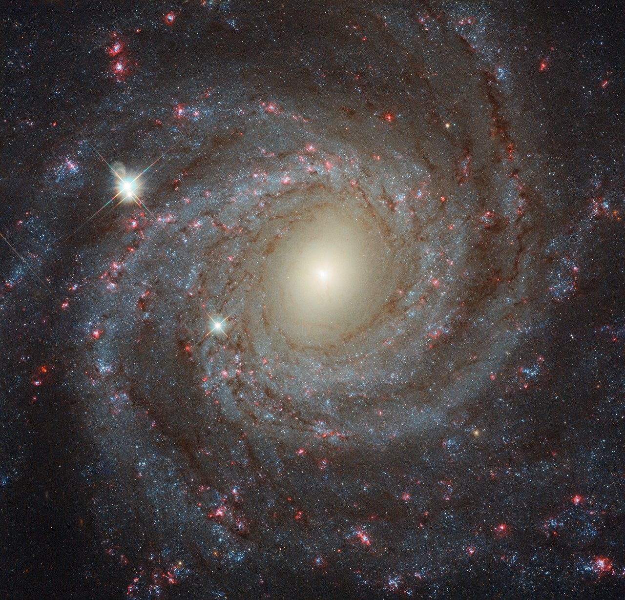 This image of the spiral galaxy NGC 3344, located about 20 million light-years from Earth, is a composite of images taken through seven different filters. They cover wavelengths from the ultraviolet to the optical and the near-infrared. Together they create a detailed picture of the galaxy and allow astronomers to study many different aspects of it. - Image Credit: ESA/Hubble, NASA