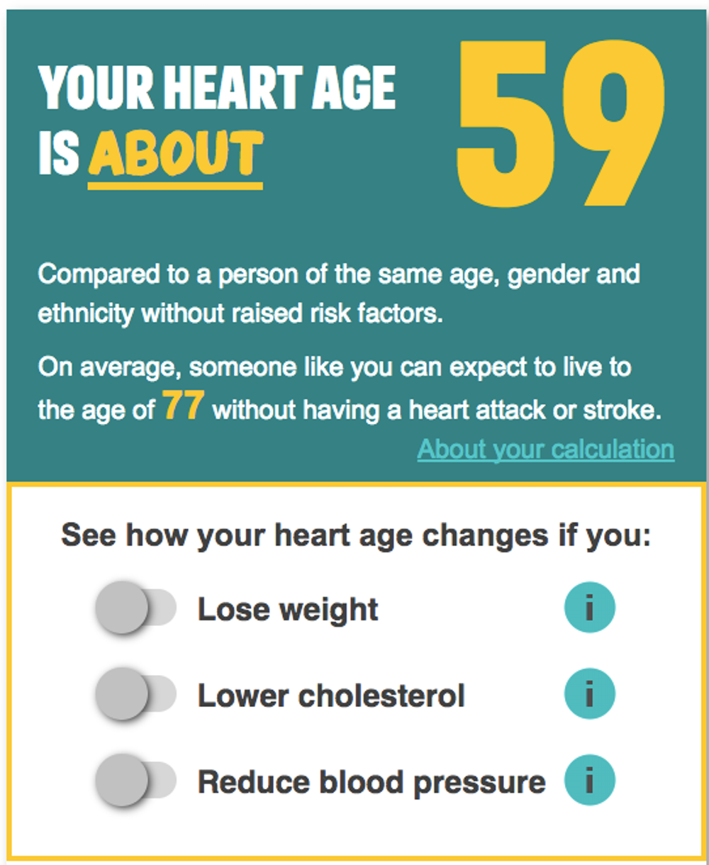 The NHS's What's your heart age? calculator (screenshot) - Image Credit:  NHS Health Check
