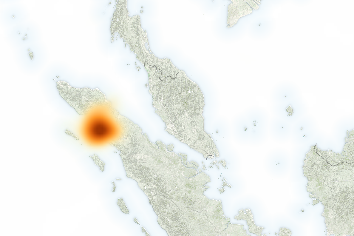 Map showing concentrations of sulfur dioxide (SO²) due to the eruption of Mount Sinabung on the island of Sumatra, Indonesia. - Image Credit: NASA/EO