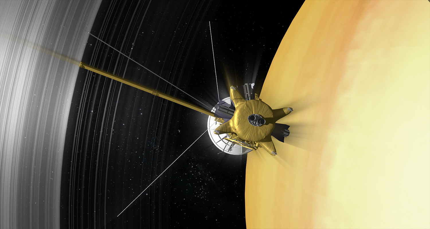 Artist's impression of the Cassini spacecraft orbiting Saturn. - Image Credit: NASA/JPL-Caltech/Space Science Institute
