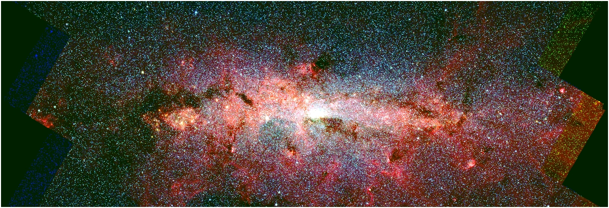 A false color Spitzer infrared image of the Milky Way's Central Molecular Zone (CMZ). - Image Credit: Spitzer/NASA/CfA