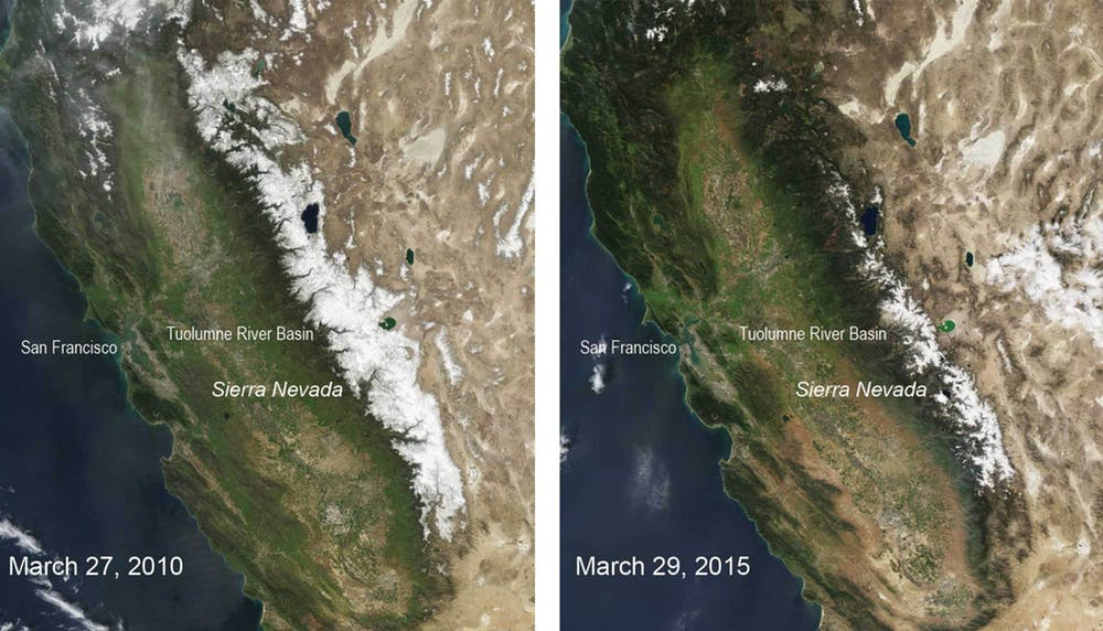 Snow cover in California's Sierra Nevada mountains in an average snowfall year versus a drought year. Snowpack is an important water source for western states. - Image Credit:  NASA/Modis