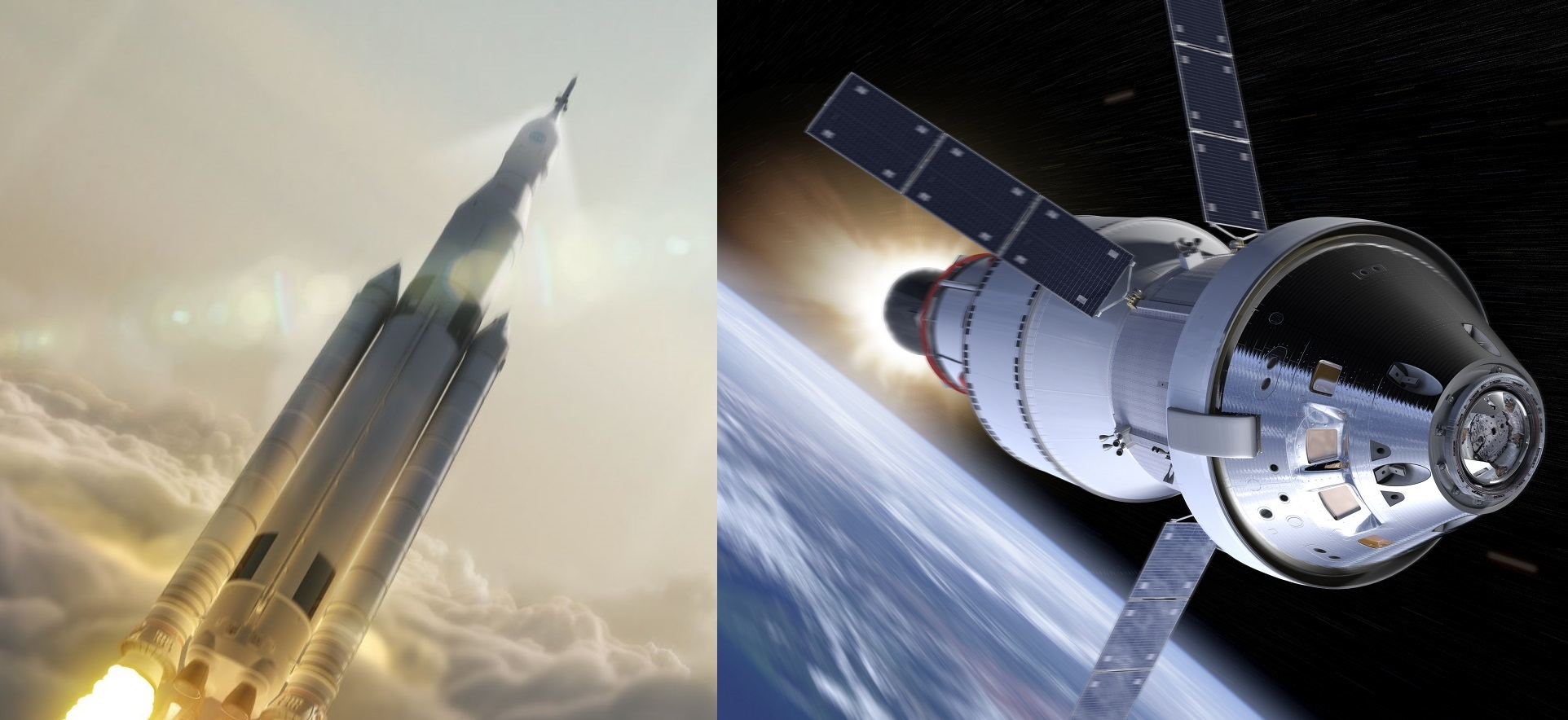 Artist concept of NASA's Space Launch System (SLS) on the left, and the Orion Multi-Purpose Crew Vehicle (right). - Image Credit: NASA