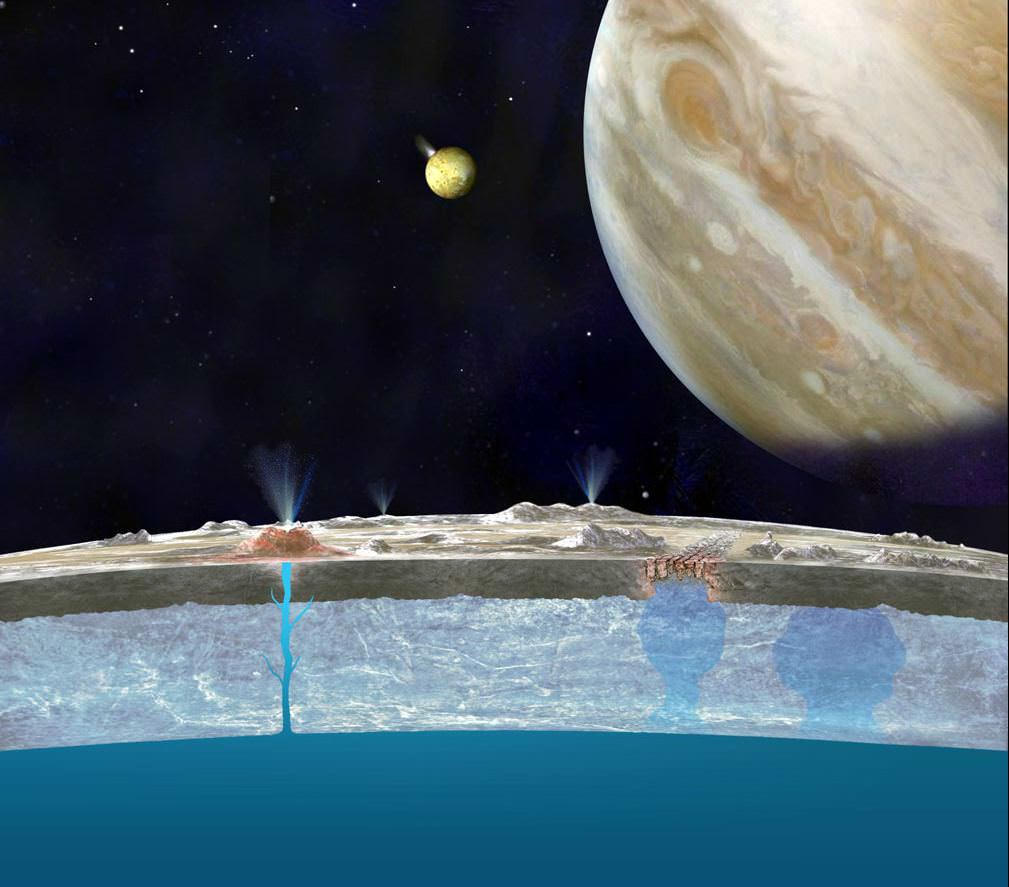 Artist's concept of plume activity on the surface of Europa. - Image Credit: NASA/JPL-Caltech