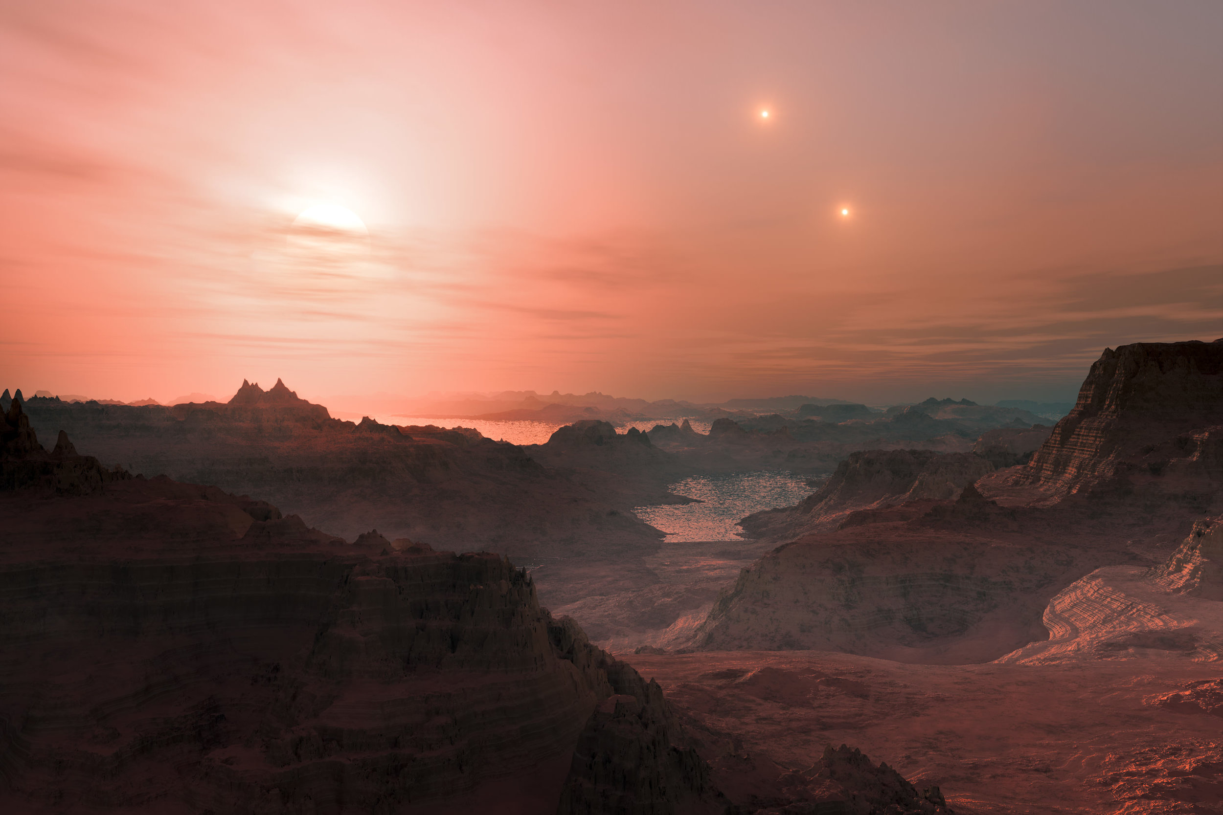 Artist's impression of a sunset seen from the surface of an Earth-like exoplanet. - Image Credit: ESO/L. Calçada