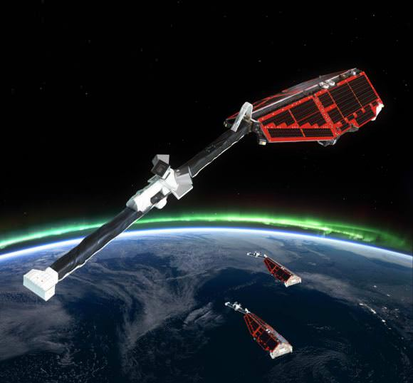 Artist's impression of the ESA's Swarm satellites, which are designed to measure the magnetic signals from Earth's core, mantle, crust, oceans, ionosphere and magnetosphere. - Image Credit: ESA/AOES Medialab