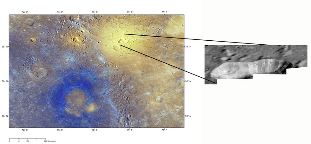 Three red spots, which were confusing to refer to until named. Nathair Facula at the top right is the largest. The smaller Neidr Facula lies 300km to the west, and Suge Facula lies 500km to the south. (Enhanced colour image) - Image Credit: NASA/JHUAPL/CIW