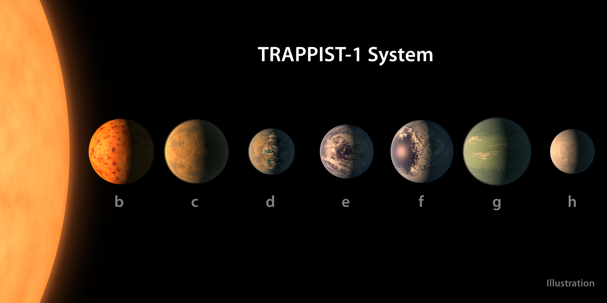 This artist's concept shows what each of the TRAPPIST-1 planets may look like, based on available data about their sizes, masses and orbital distances. - Image Credits: NASA/JPL-Caltech