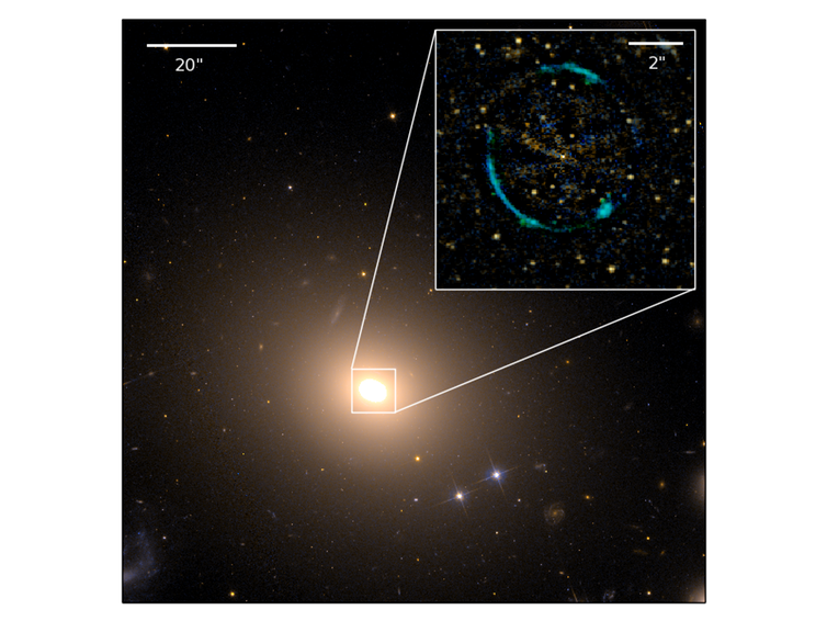 The gravitational lens ESO325-G004. After subtracting the light of the galaxy, a blue Einstein ring becomes visible in the centre. - Image Credit: NASA/Hubble