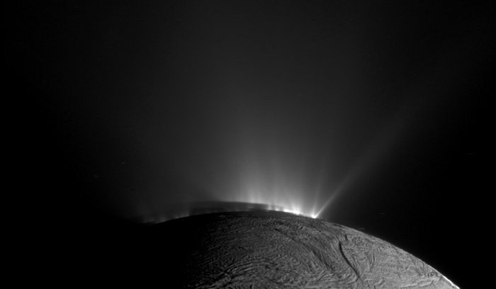 Cassini narrow-angle camera image looking across the south pole of Saturn's icy moon Enceladus on November 30th, 2010, 1.4 years after southern autumnal equinox. - Image Credit: NASA/JPL-Caltech/Space Science Institute