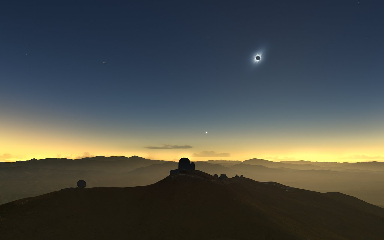 This artist's impression shows how the total solar eclipse of 2 July 2019 will appear from ESO's La Silla Observatory in Chile. The sun will be quite low in the western sky and, if the skies are clear, several planets and bright stars should be also visible. - Image Credit:M. Druckmüller, P. Aniol, K. Delcourte, P. Horálek, L. Calçada/ESO
