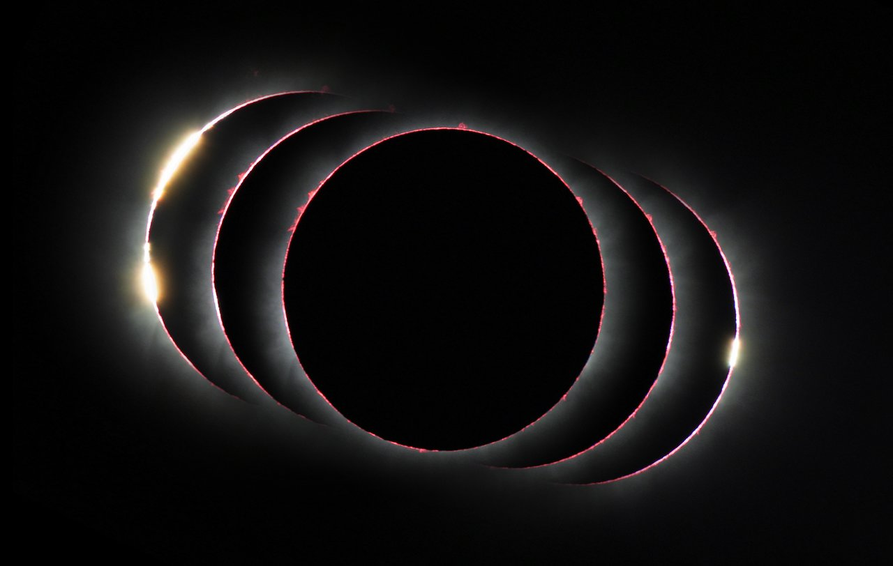 This compound view shows the solar eclipse of 3 November 2013 just before, during, and just after the total phase. At the start and end of the total phase light can shine through lunar valleys to create the diamond ring effect and during the total phase many red prominences and the Sun's chromosphere are apparent. - Image Credit: P. Horálek/ESO