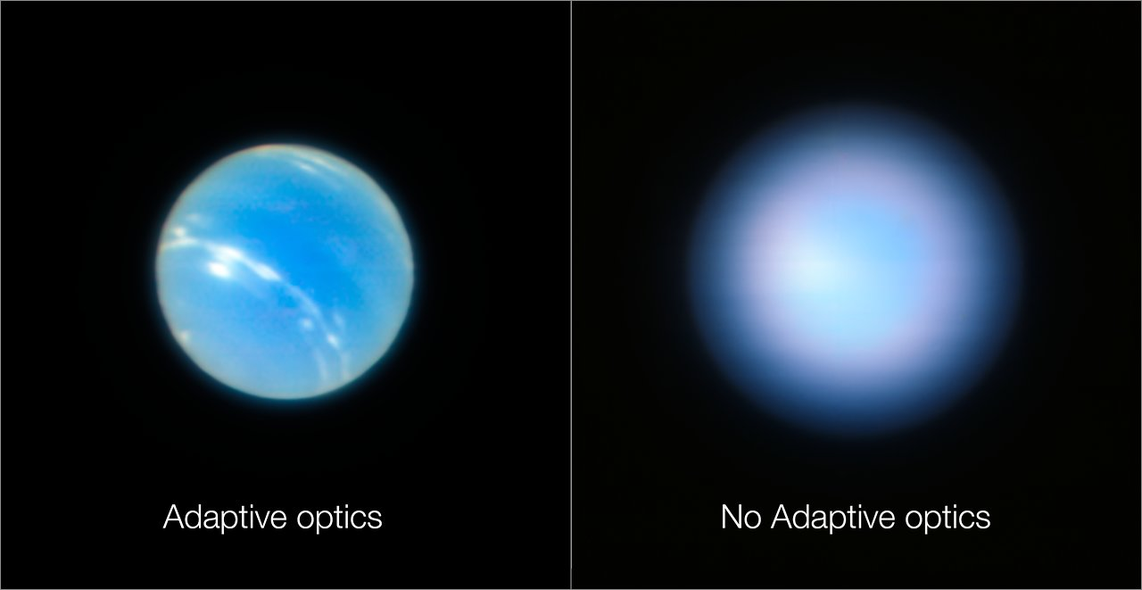 These images of the planet Neptune were obtained during the testing of the Narrow-Field adaptive optics mode of the MUSE/GALACSI instrument on  ESO's Very Large Telescope . The image on the right is without the adaptive optics system in operation and the one on the left after the adaptive optics are switched on. - Image Credit: ESO/P. Weilbacher (AIP)