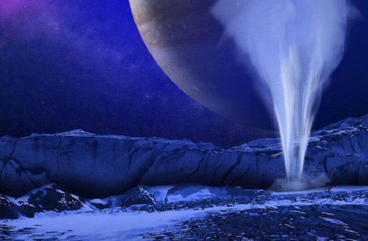 Artist's impression of a water vapor plume on Europa. - Image Credit: NASA/ESA/K. Retherford/SwRI