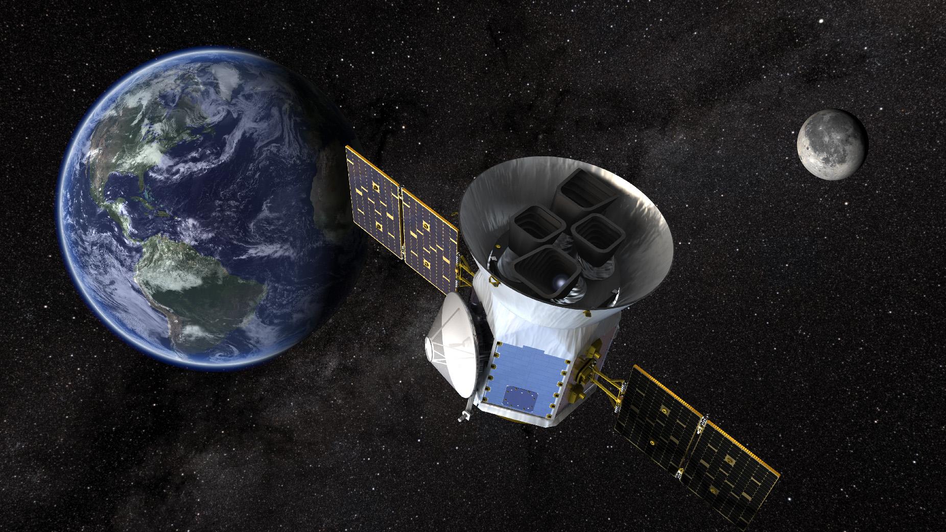 An artist's illustration of the Transiting Exoplanet Survey Satellite. Credits: NASA Goddard Space Flight Center