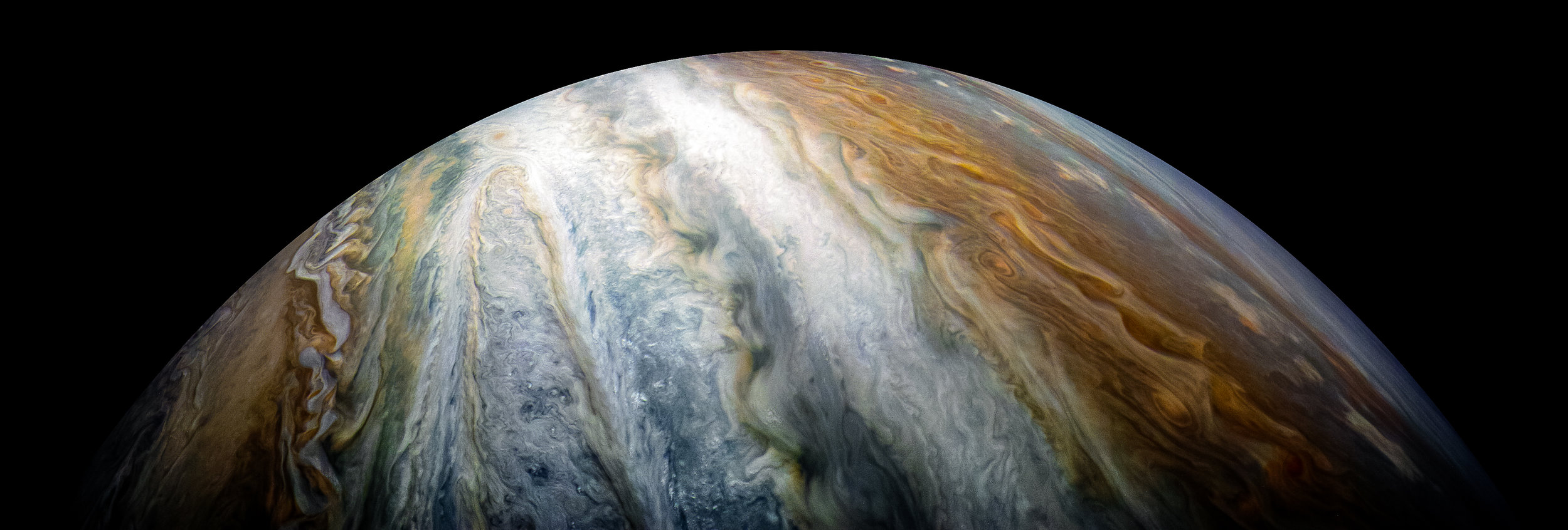 The colorful cloud belts dominate Jupiter's southern hemisphere in this image captured by NASA's Juno spacecraft. - Image Credit:  NASA/JPL-Caltech/SwRI/MSSS/Kevin M. Gill