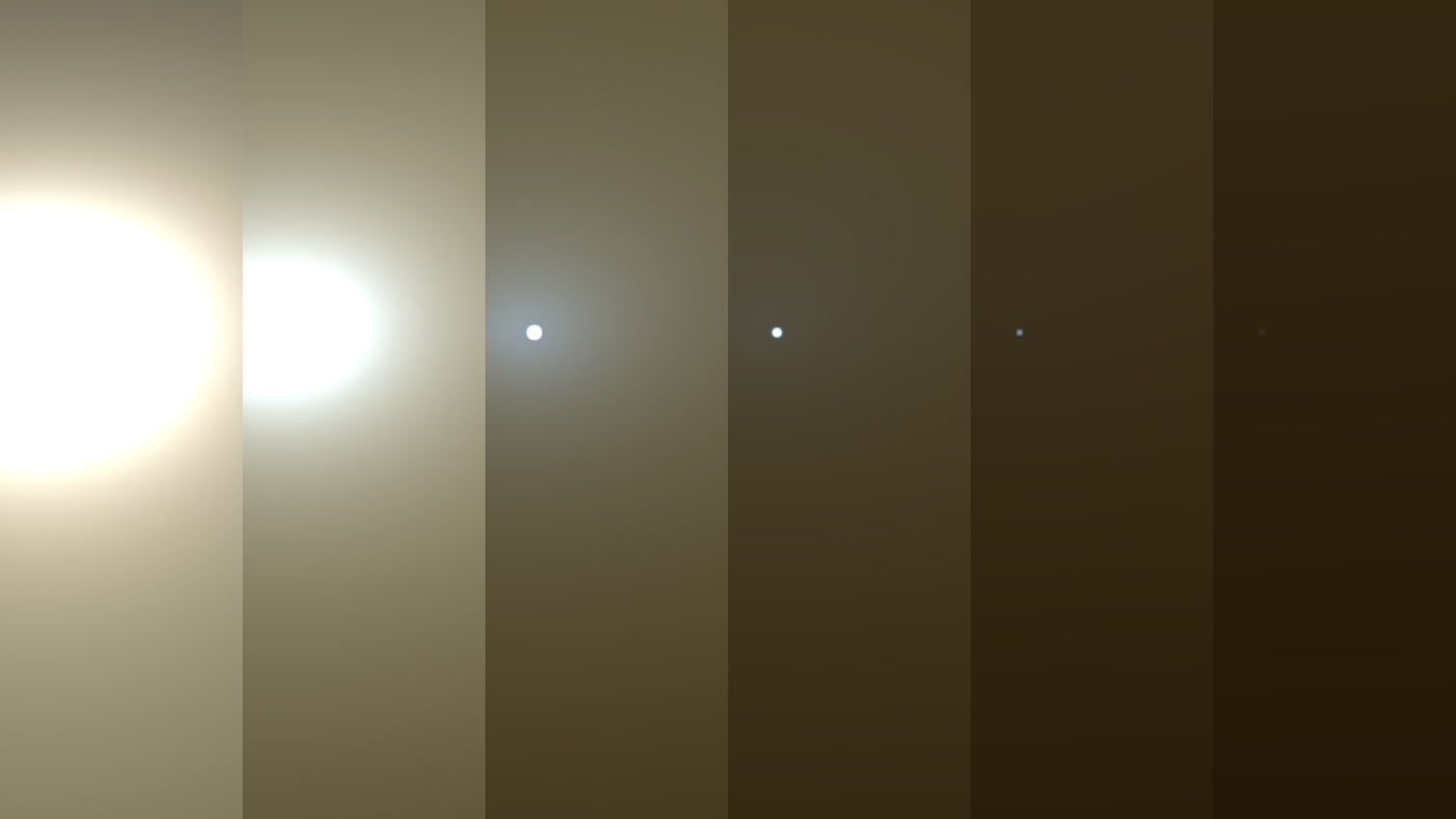Simulated views of a darkening Martian sky blotting out the Sun from NASA's Opportunity rover's point of view, with the right side simulating Opportunity's view in the global dust storm as of June 2018. - Image Credit: NASA/JPL-Caltech/TAMU