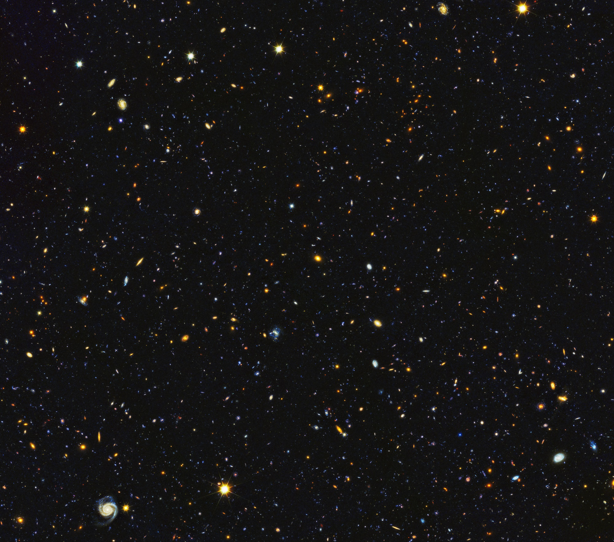 Astronomers have just assembled one of the most comprehensive portraits yet of the universe's evolutionary history, based on a broad spectrum of observations by the Hubble Space Telescope and other space and ground-based telescopes. In particular, Hubble's ultraviolet vision opens a new window on the evolving universe, tracking the birth of stars over the last 11 billion years back to the cosmos' busiest star-forming period, about 3 billion years after the big bang. This photo encompasses a sea of approximately 15,000 galaxies — 12,000 of which are star-forming — widely distributed in time and space. This mosaic is 14 times the area of the Hubble Ultra Violet Ultra Deep Field released in 2014.- Image Credits: NASA, ESA, P. Oesch (University of Geneva), and M. Montes (University of New South Wales)