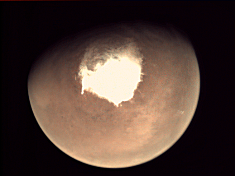 The Red Planet welcomes ExoMars - south pole visible. - Image Credit: ESA,  CC BY-SA