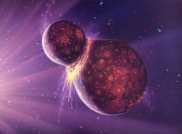 Artist's impression of the impact that caused the formation of the Moon. - Image Credit: NASA/GSFC