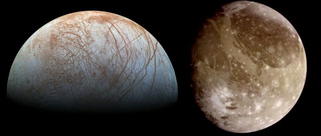 Jupiter's moons Europa (left) and Ganymede (right.) Both moons likely have subsurface oceans that could harbor life. Image not to scale. - Image Credit: NASA