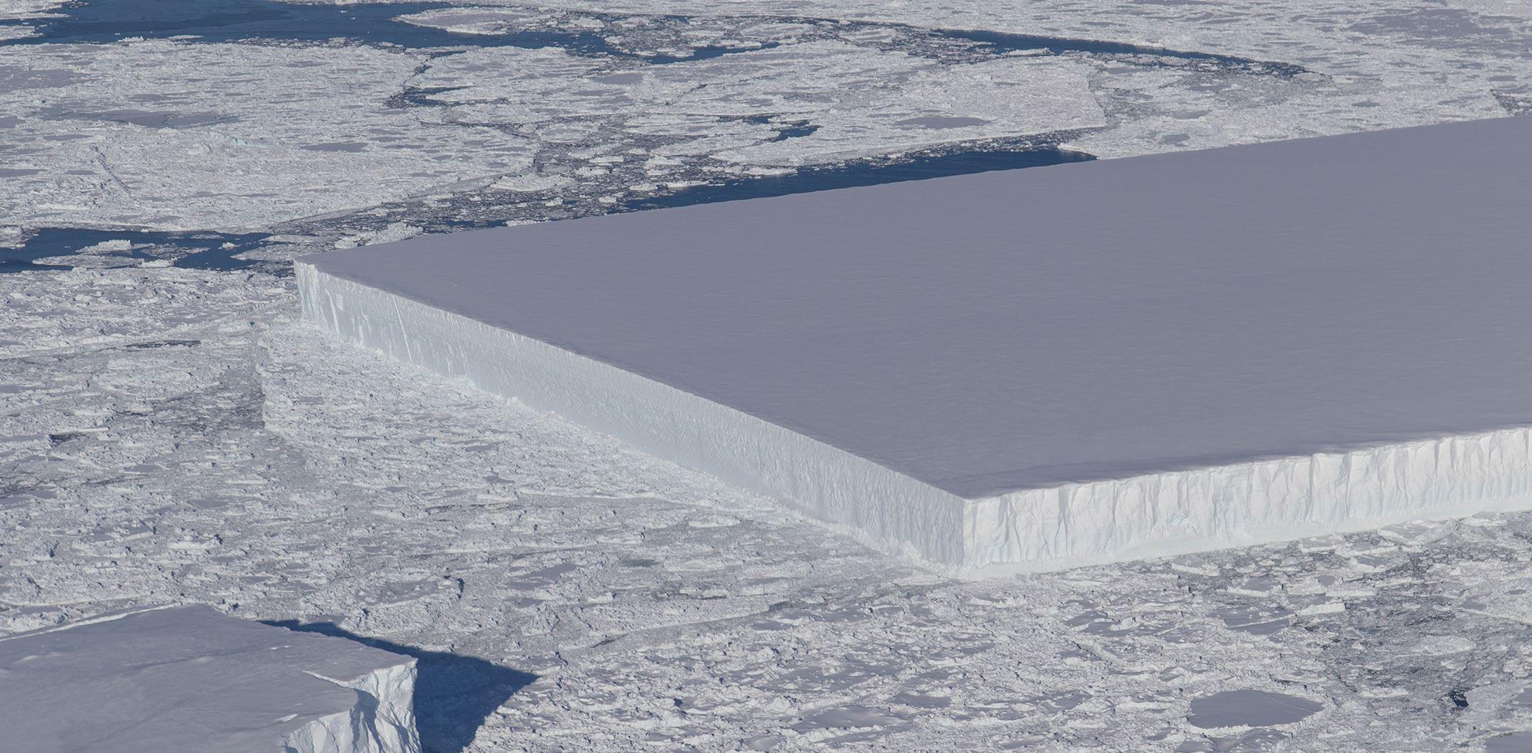 Icebergs of this shape are call 'tabular'. - Image Credit: NASA/Jeremy Hardbeck