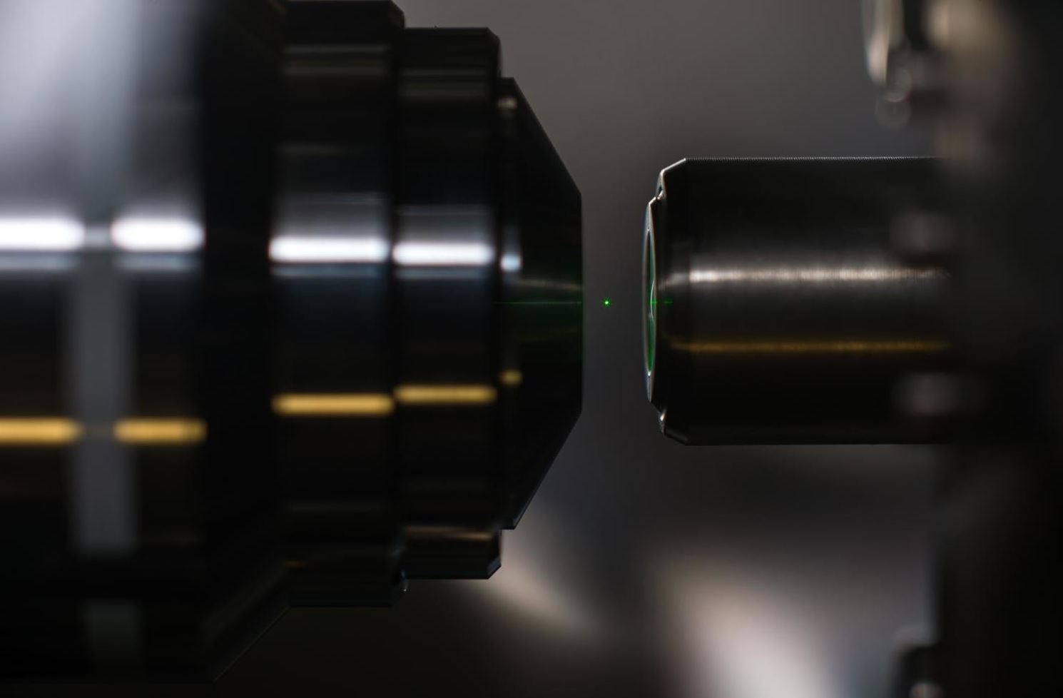 A silica sphere with a radius of 50 nanometers is trapped levitating in a beam of light. - Image Credit: J. Adam Fenster, University of Rochester,  CC BY-SA