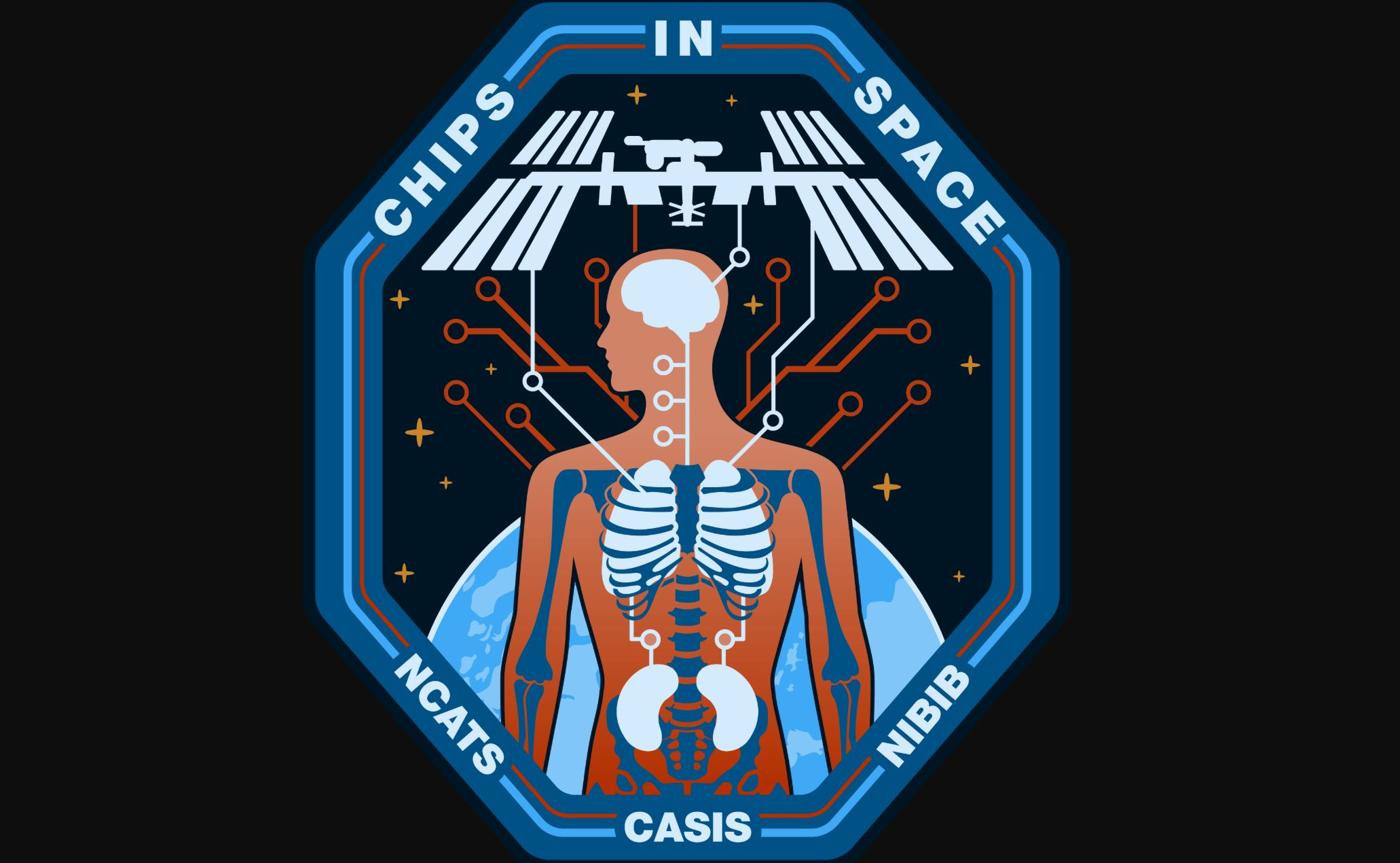 The insignia representing the collaboration between CASIS and NIH (NCATS and NIBIB) for the Tissue Chips in Space investigations to the International Space Station National Laboratory. - Image Credit: CASIS