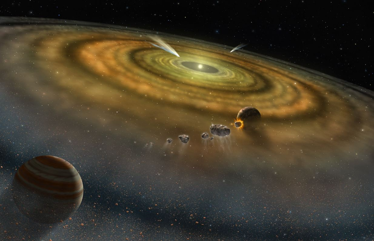 An artist's conception of the dust and gas surrounding a newly formed planetary system. Somewhere in there is Earth's water. - Image Credit: NASA
