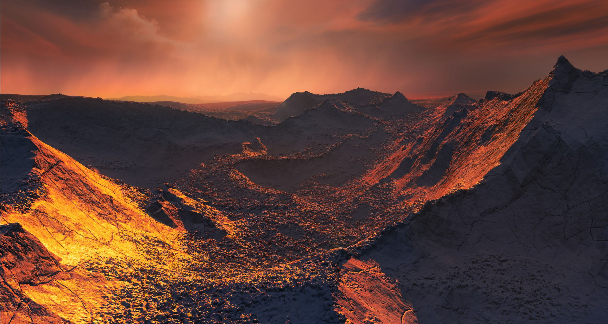 This image shows an artist's impression of the planet's surface. - Image Credit:  ESO/M. Kornmesser