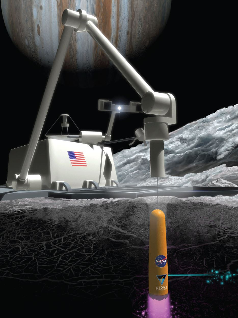 Conceptual design of ARCHIMEDES operating on Europa. - Image Credit: NASA/SMD