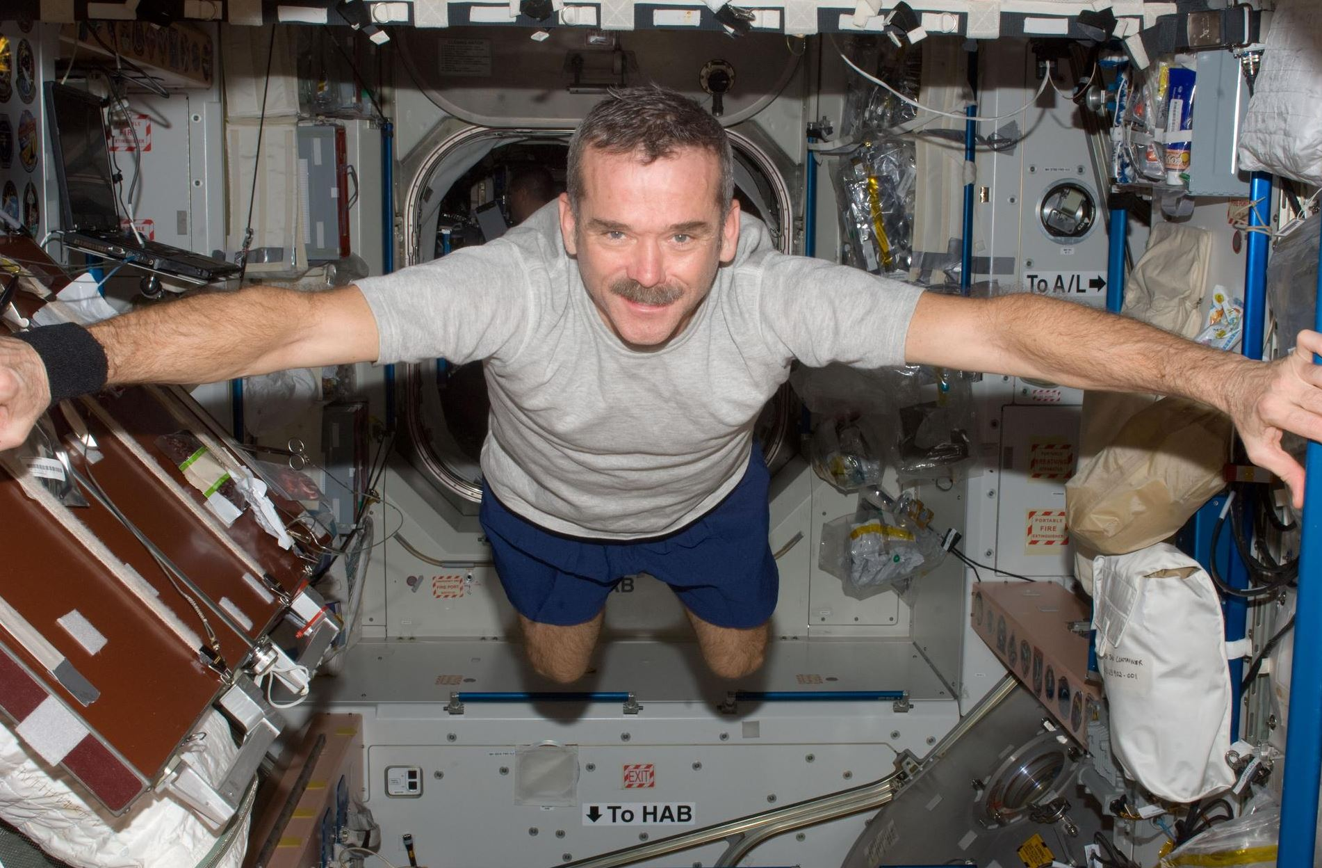 Canadian Space Agency astronaut Chris Hadfield on the International Space Station in 2012. - Image Credit:  NASA