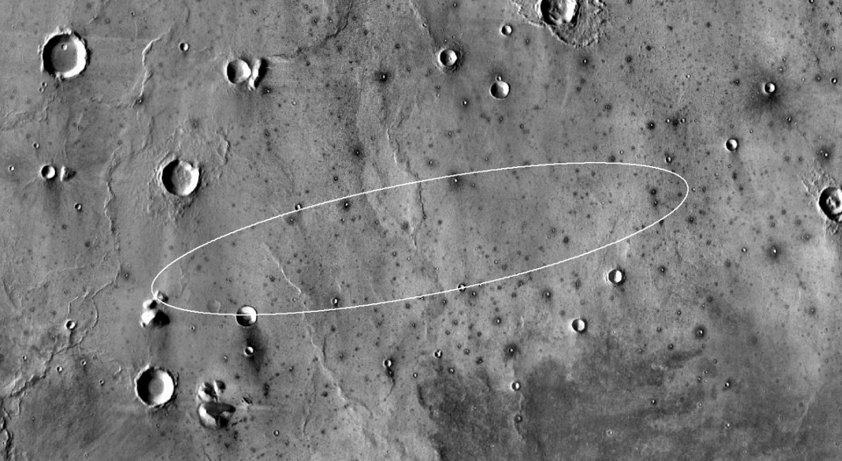 This image from the Mars Odyssey orbiter took this image of the target landing site for NASA's InSight lander. - Image Crjedit: NASA/JPL-Caltech/ASU