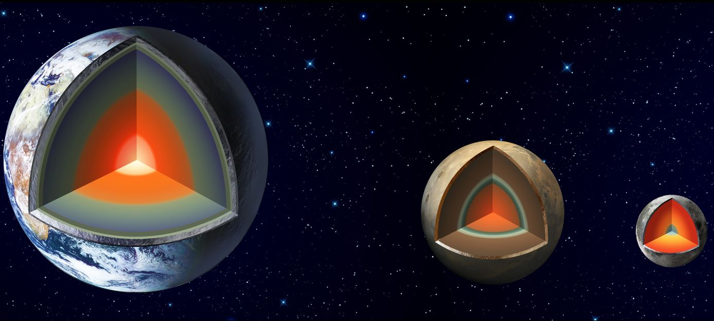 The artist's impression shows the major interior layers of Earth, Mars and the Moon. - Image Credit: NASA/JPL-Caltech